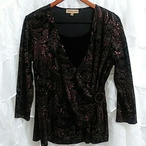 NOTATIONS Velvety Faux Wrap Sparkly Blouse Q44